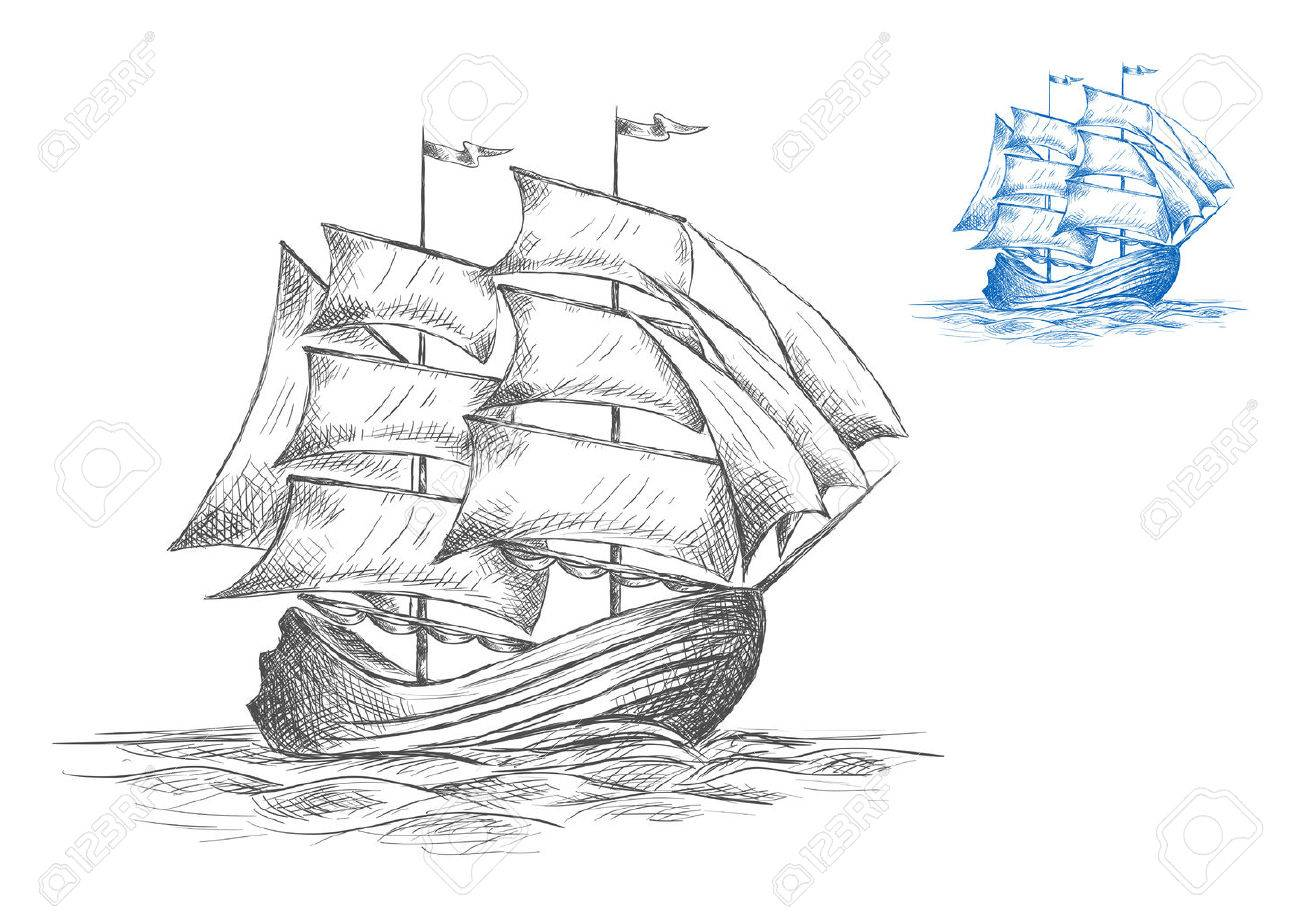 Old Wooden Sailing Ship Under Full Sail On The Sea In Two Color Variations Grey
