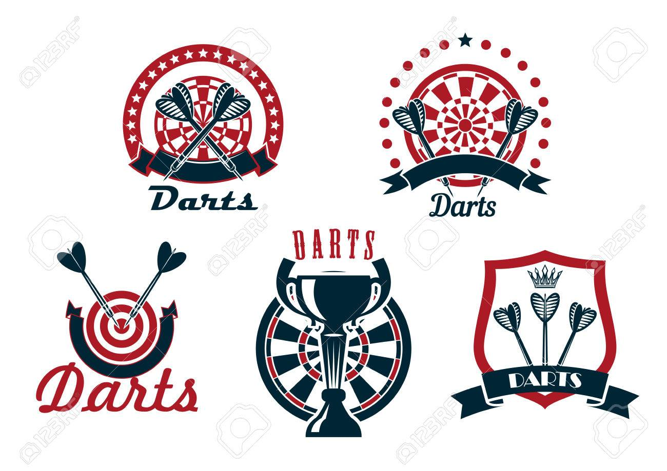 Darts Game Icons Or Symbols Showing Arrows With Dartboards And