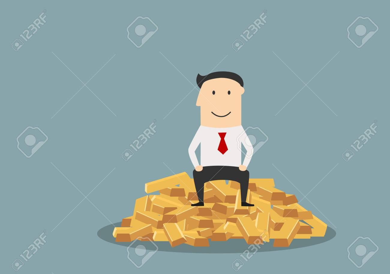 Hombre de negocios alegre sentado en la parte superior del montón de lingotes de oro, para el diseño éxito o el concepto de la abundancia. estilo