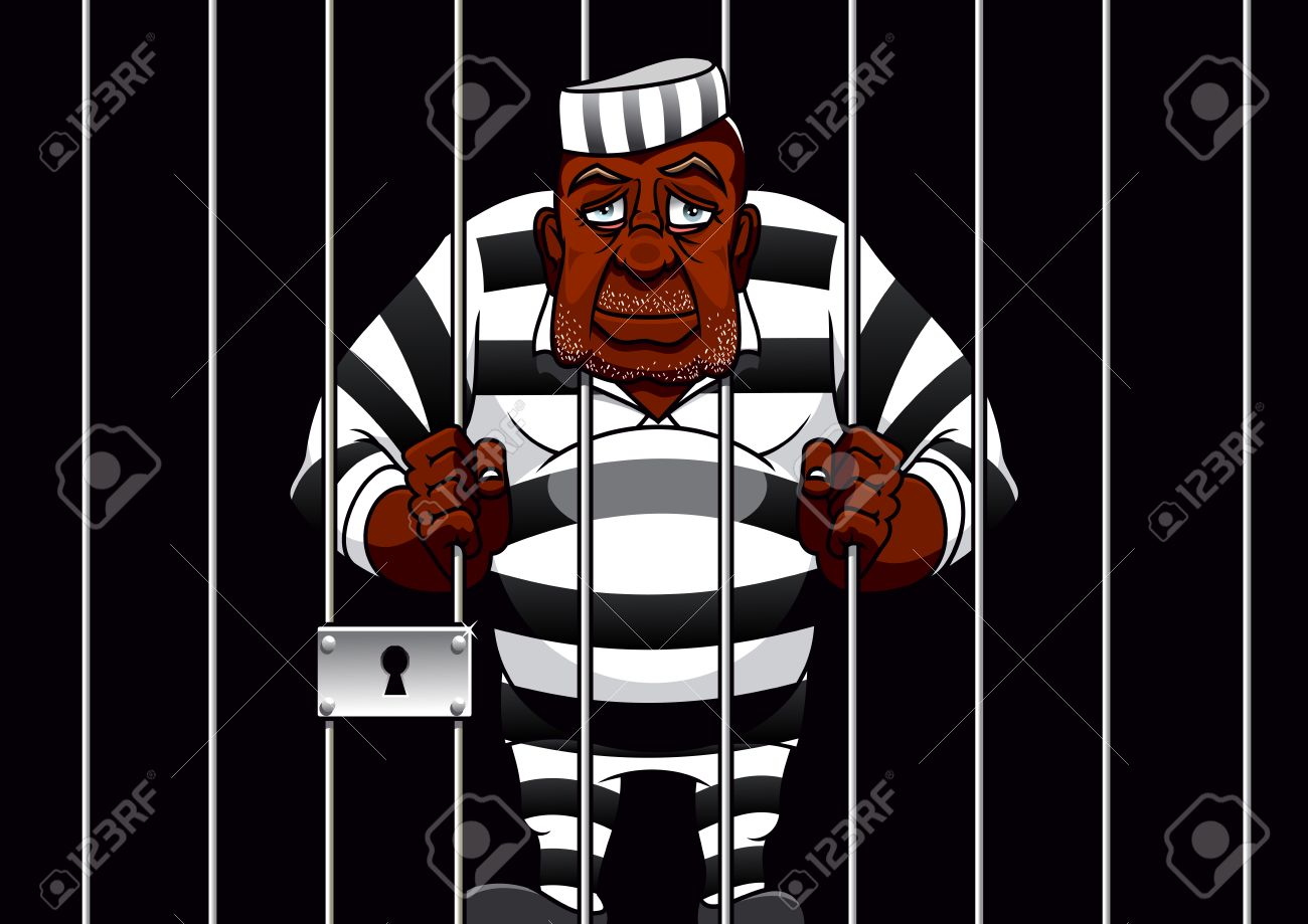 Sad African American Cartoon Prisoner In Striped Uniform Stands ...