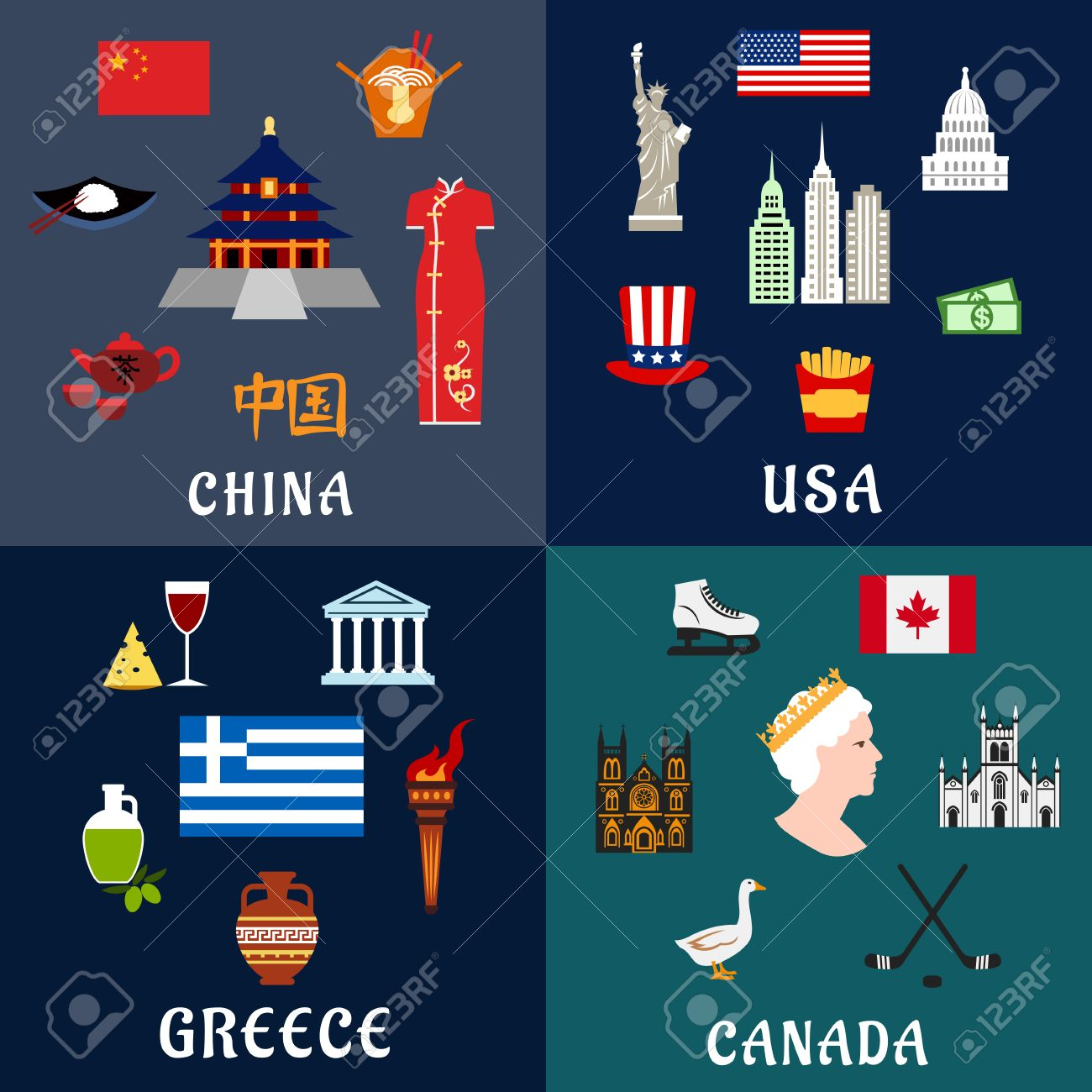 USA, China, Greece And Canada Travel And Landmarks Flat Icons With ...