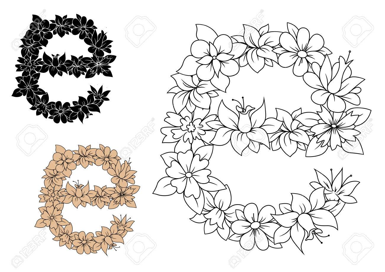 Floral Small Letter E With Lush Blooming Flowers And Curved Leaves