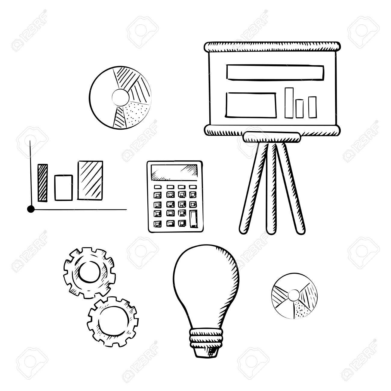 Flip chart with graphs pie charts bar graph calculator idea flip chart with graphs pie charts bar graph calculator idea light bulb ccuart Gallery