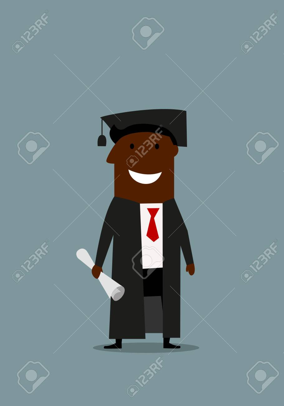 Joyful Cartoon African American Businessman In Graduation Gown ...