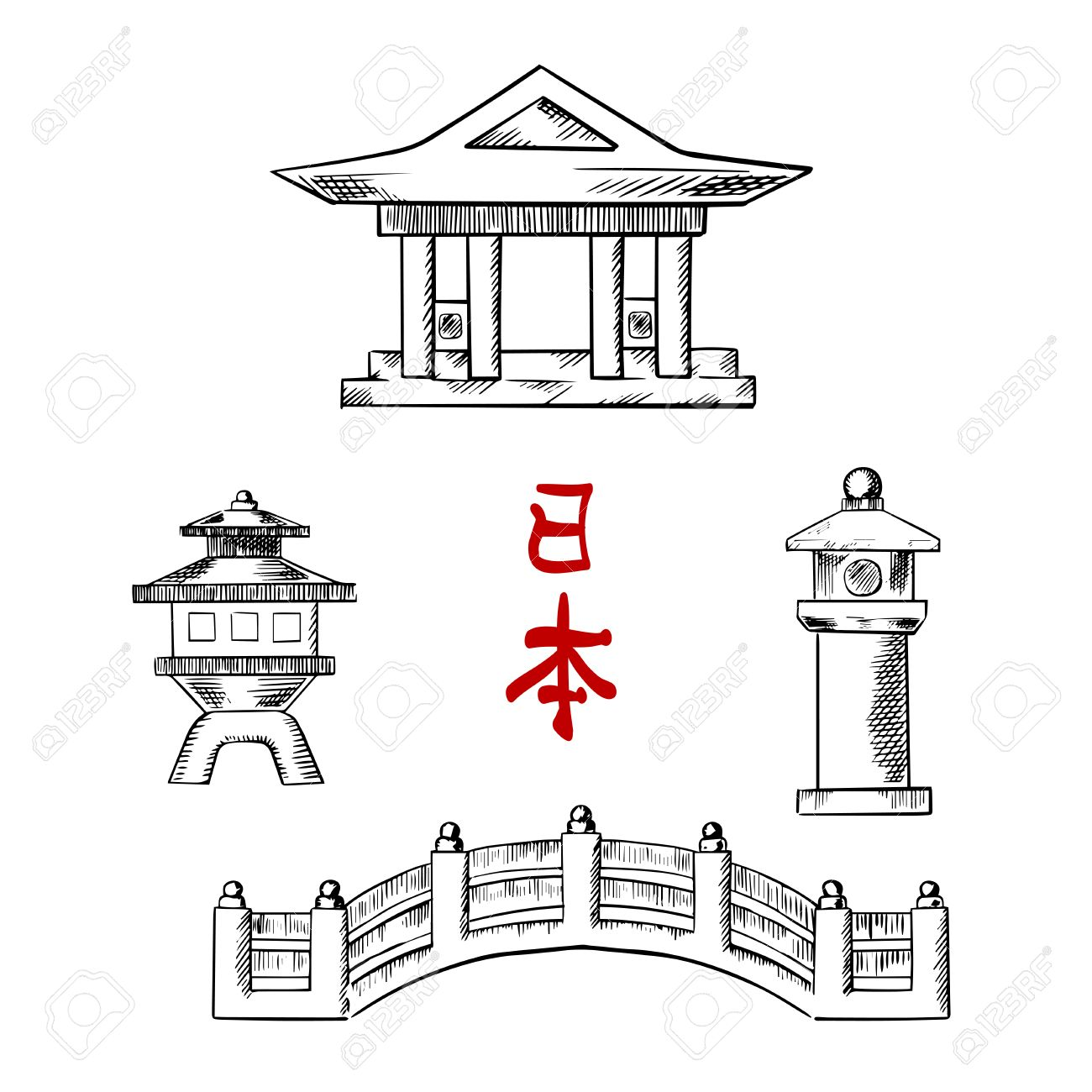 Traditional Japanese Architecture Icons With Bridge Temple And Stone Lanterns For Oriental Culture Ot