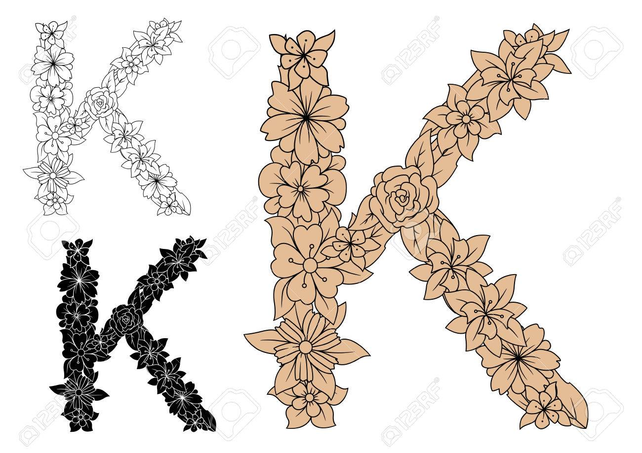 Dainty capital letter K with brown flowers, adorned by decorative foliage,  for monogram design