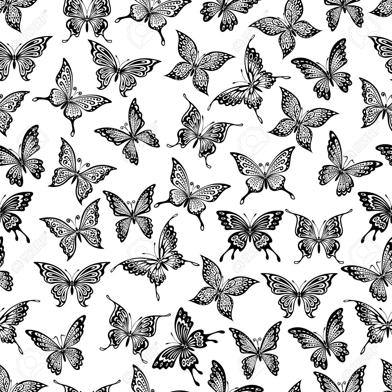 Seamless Pattern With Black Flying Butterflies On White Background For Wallpaper Or Textile Design Stock