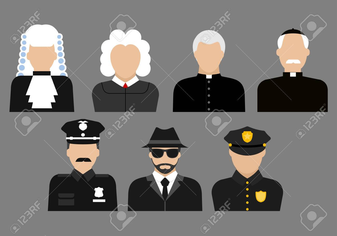Profession Flat Avatars Or Icons With Judges In Wig And Gown ...
