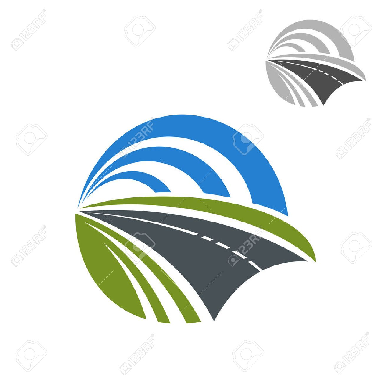 Speedy road icon with green roadsides disappearing to a vanishing point within a circle of blue sky, for travel or transportation themes design Stock Vector - 48314359