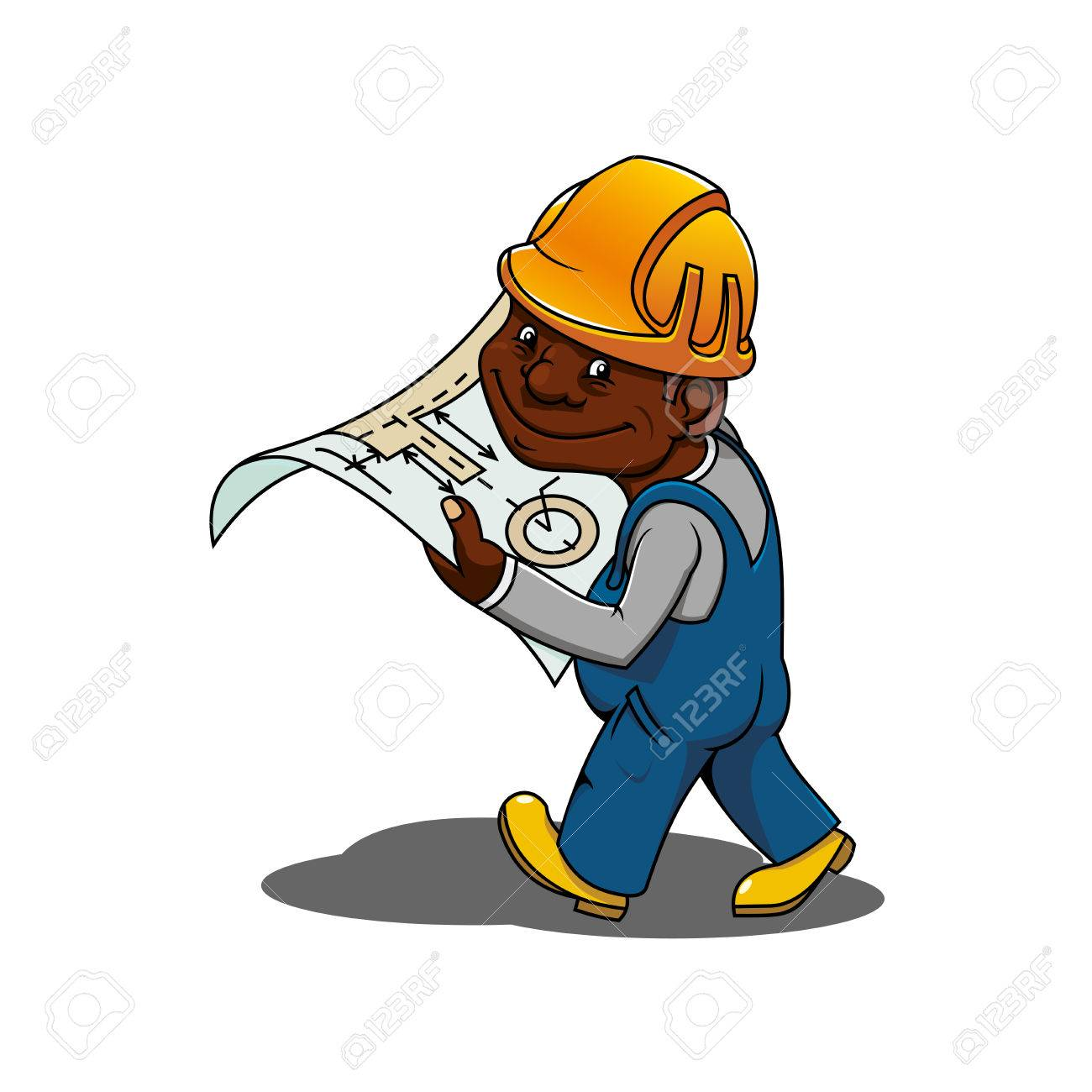African american construction engineer or builder cartoon character african american construction engineer or builder cartoon character in yellow hard hat and blue overalls holding malvernweather Image collections