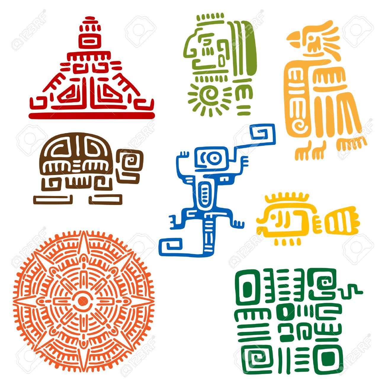 Tótems Mayas Y Aztecas Antiguos O Signos Religiosos Con Símbolos ...