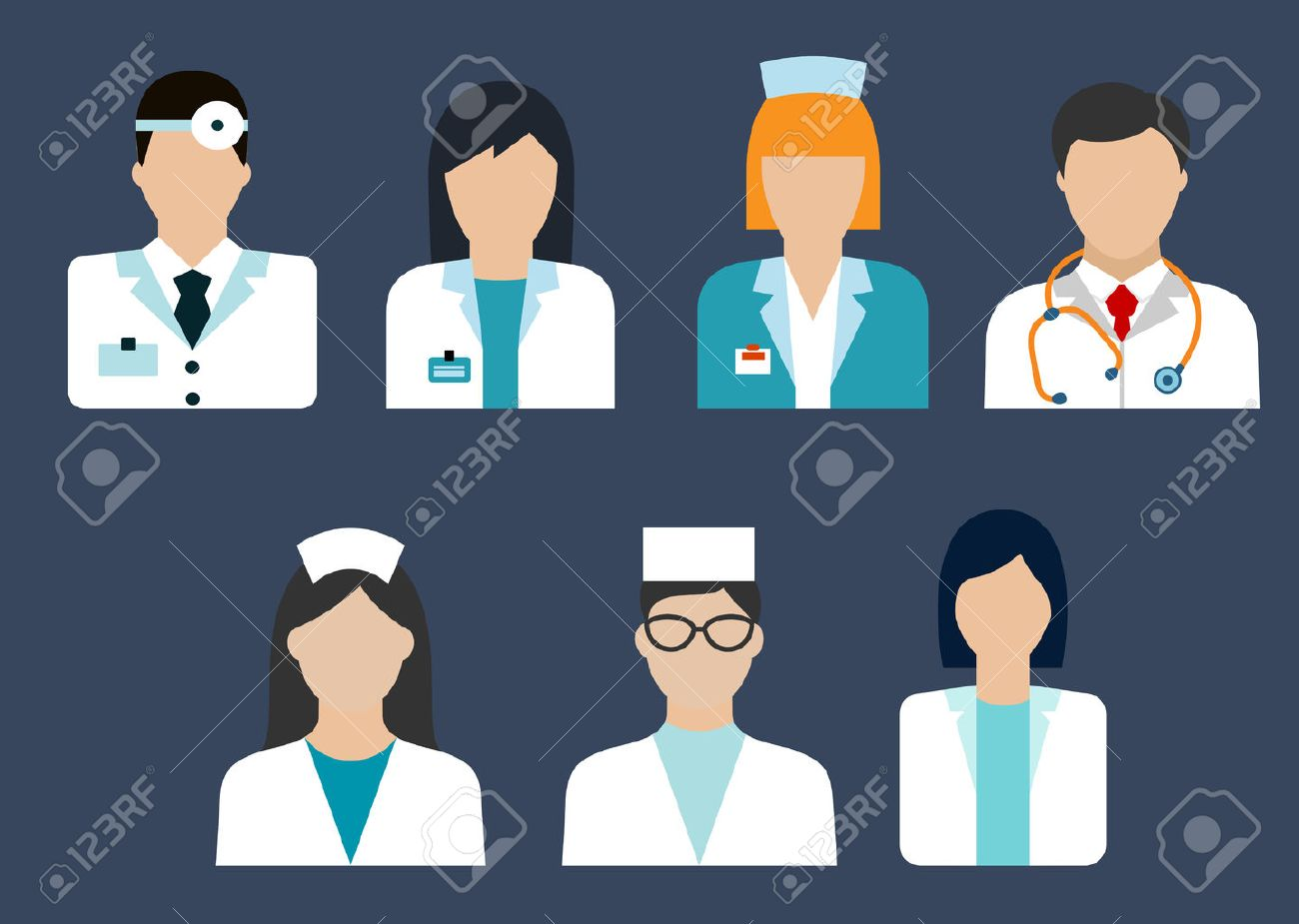 Flat icons of medical professions with doctor, therapist, surgeon, dentist, pharmacist and nurse avatars - 48314464