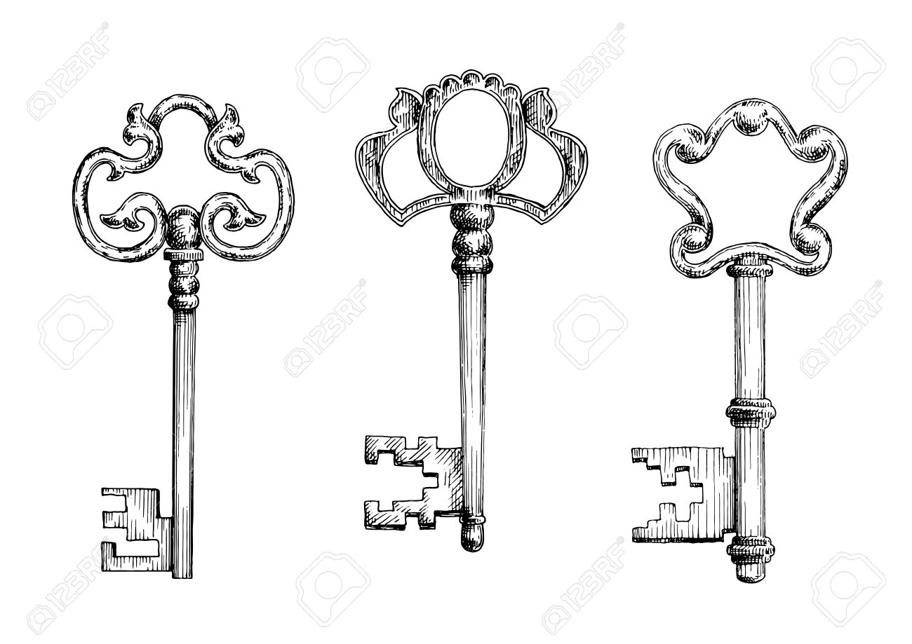Old antique door keys with decorative bows. Sketch icons, for secret or  security theme - Old Antique Door Keys With Decorative Bows. Sketch Icons, For