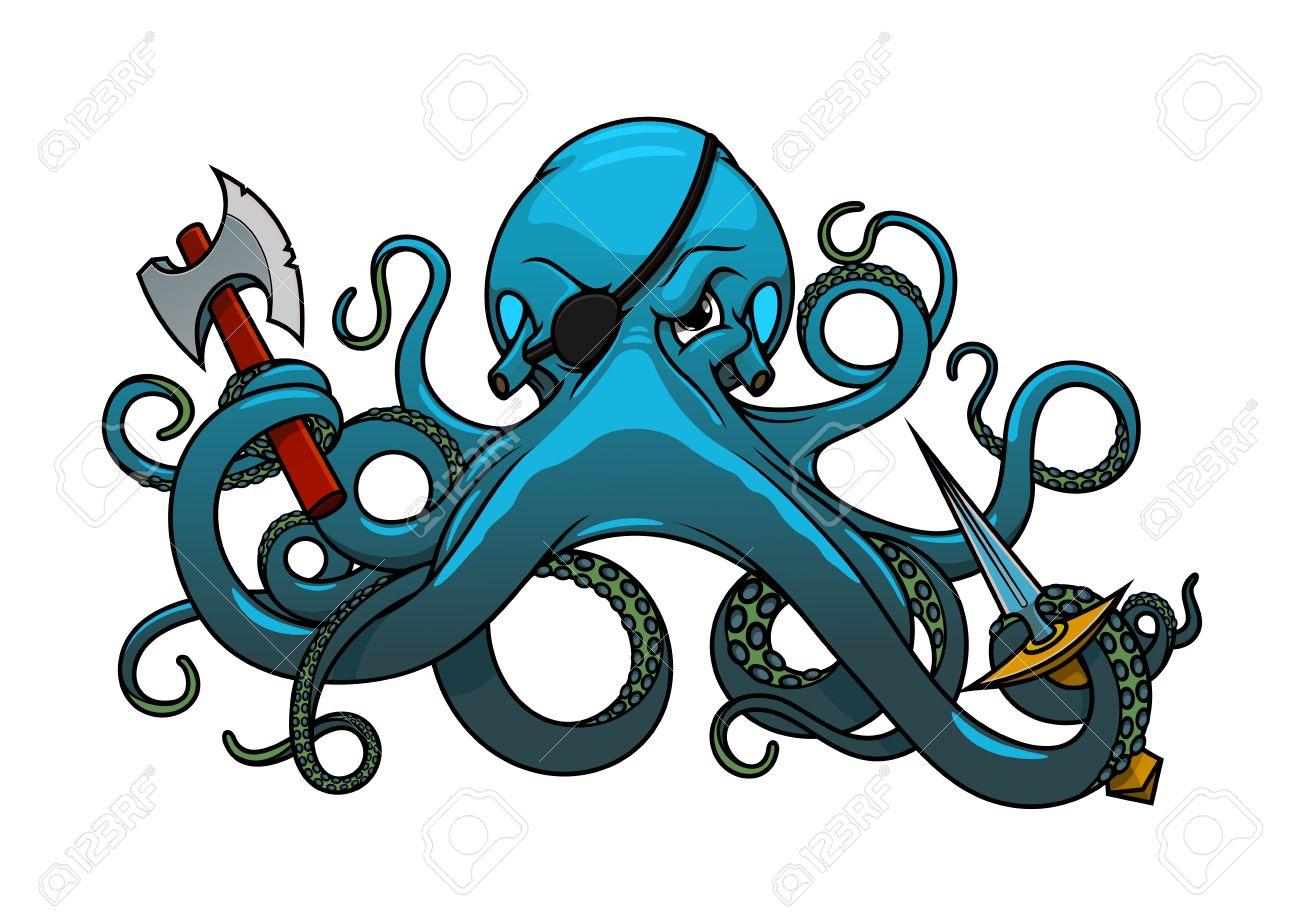 fearful blue octopus pirate cartoon character with black eye rh 123rf com oswald octopus cartoon character Blue Octopus Cartoon