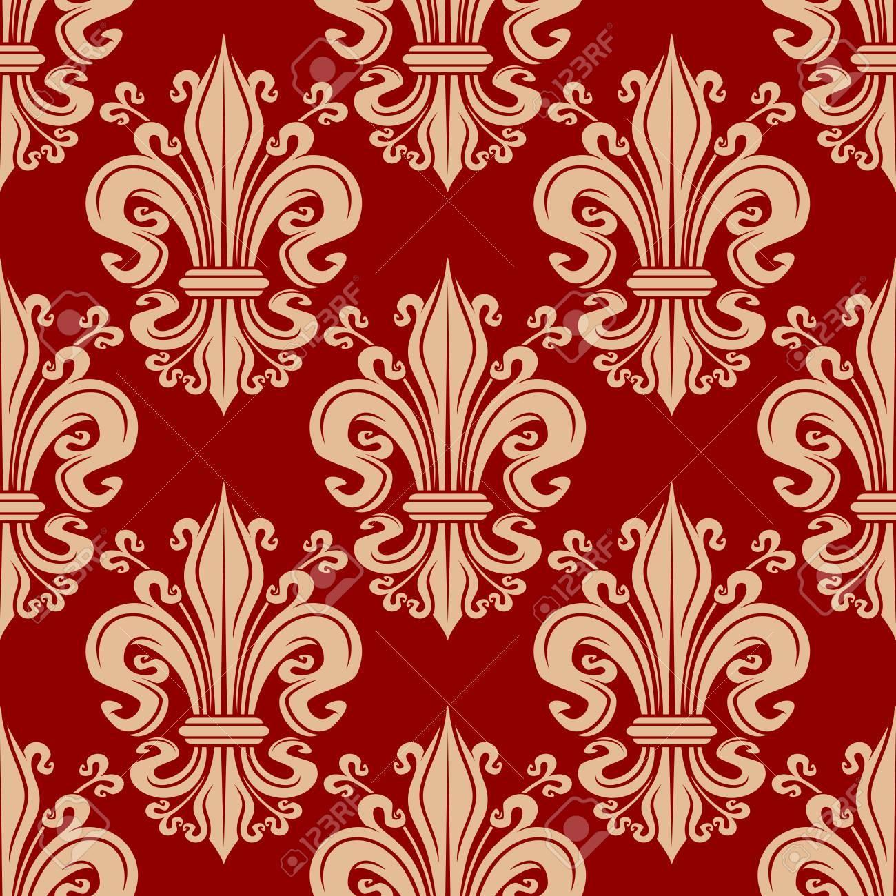 Vintage Seamless Beige Fleur De Lis Floral Pattern On Red Background