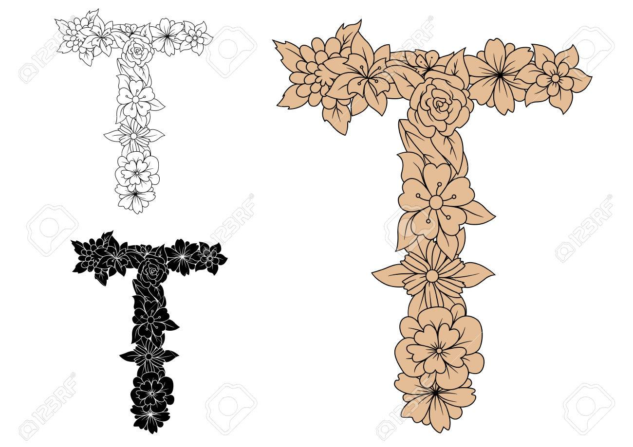 floral alphabet letter t in uppercase font with decorative flowers in brown colorless and black