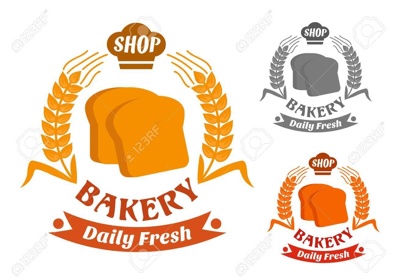 Bäckerei-Shop-Symbol Mit Goldenen Knusprige Scheiben Toastbrot ...