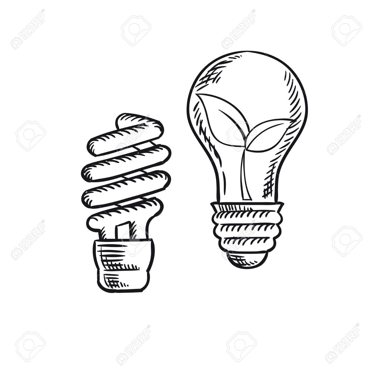 sketch of fluorescent energy saving light bulb and old incandescent  sketch of fluorescent energy saving light bulb and old incandescent l with plant inside save
