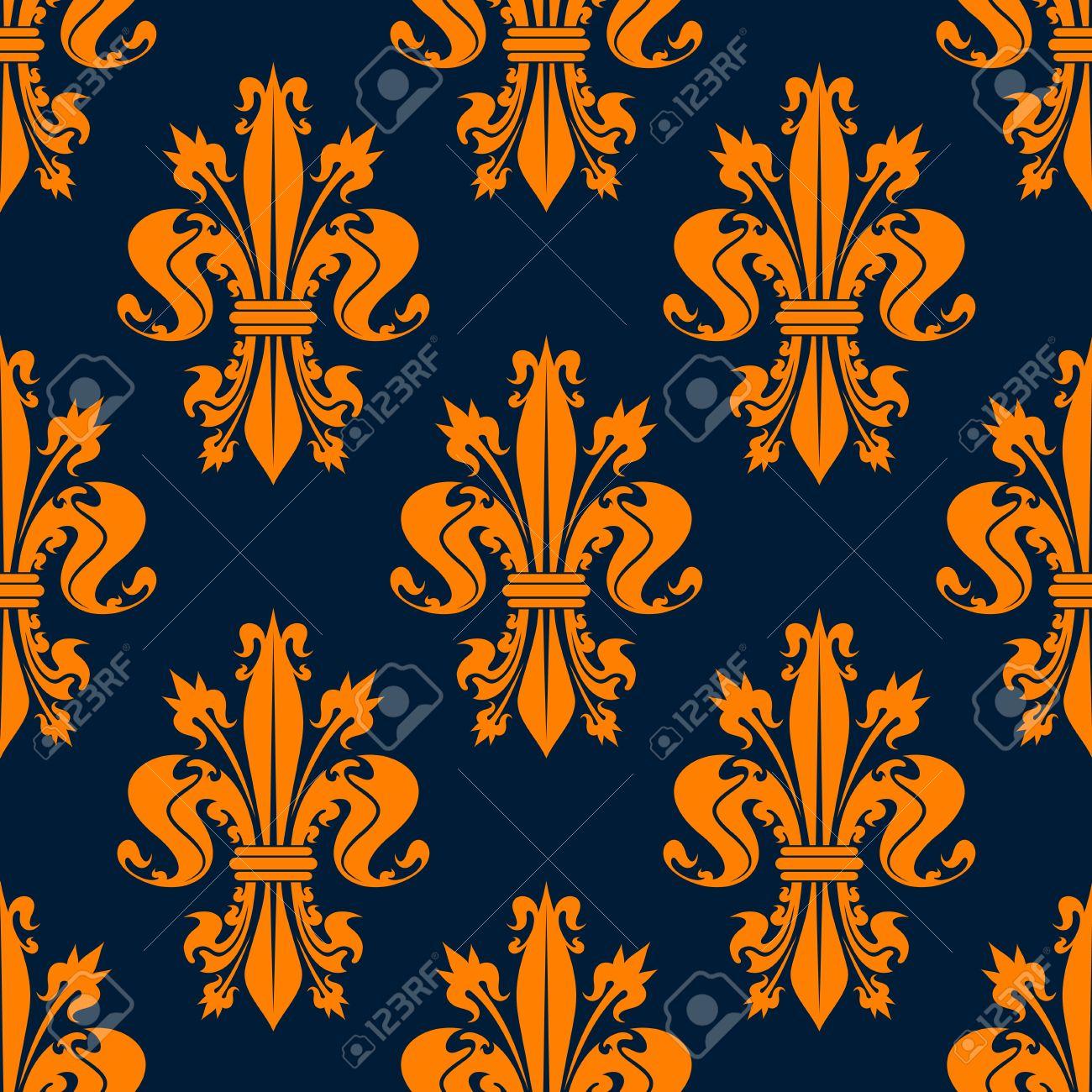 Motif Floral Victorien Royal Sans Couture Avec Des Fleurs Fleur De