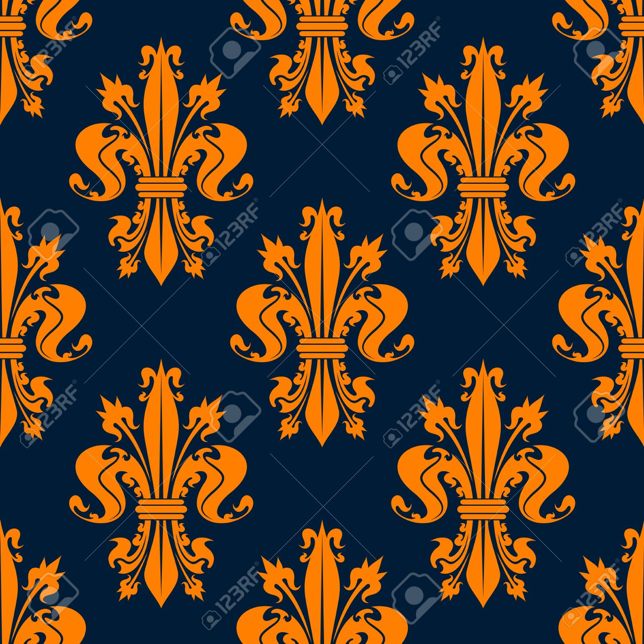 Seamless Victorian Royal Floral Pattern With Stylized Orange Fleur