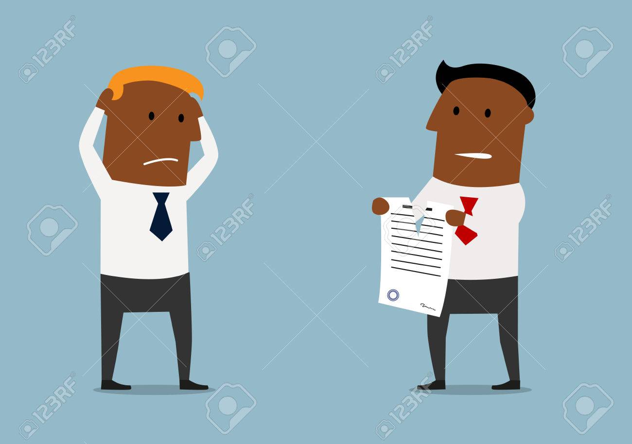 Cartoon Angry Black Businessman Tearing Apart A Contract In Front ...
