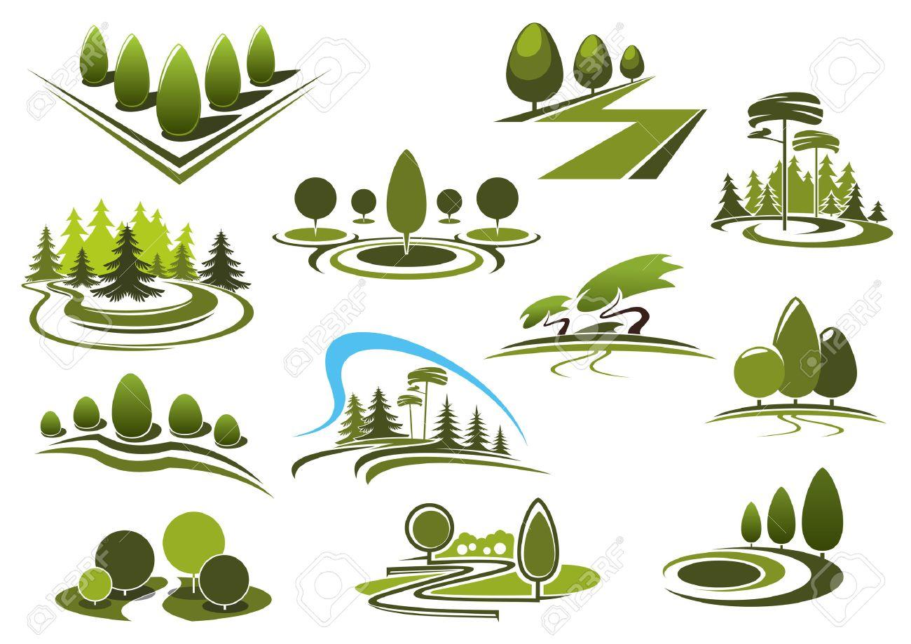 Landschaft Lizenzfreie Vektorgrafiken Kaufen: 123rf Garten Landschaft Gestaltung Wald