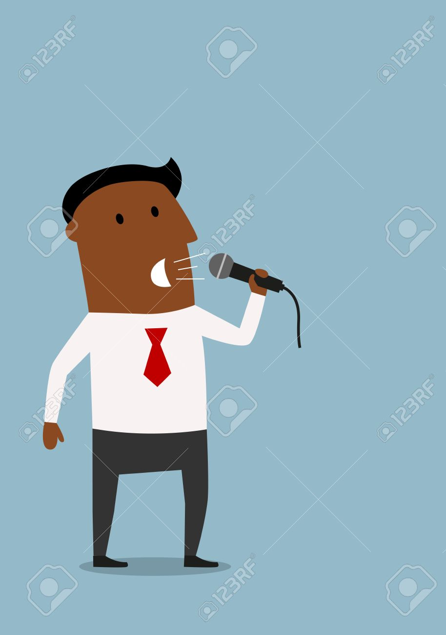 convincing cartoon african american businessman with microphone