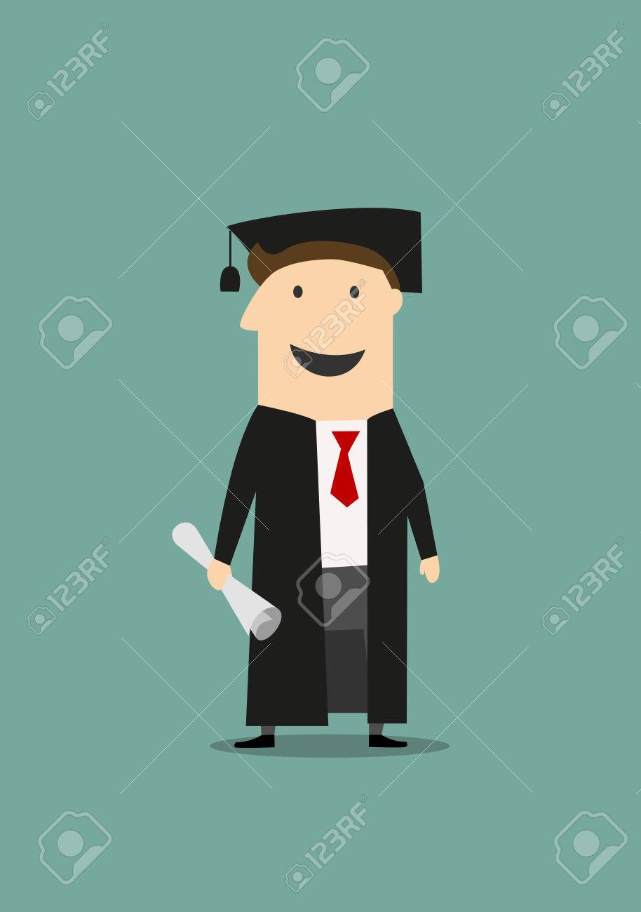 Cartoon Happy Student Standing In Black Graduation Gown And Hat ...