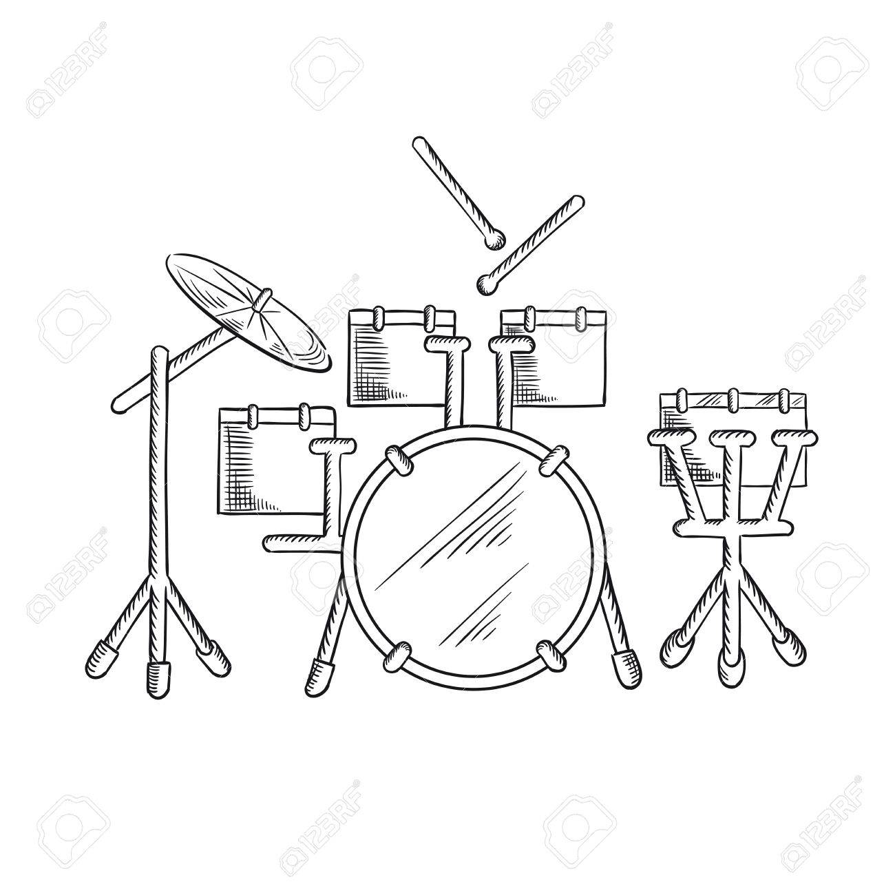 Drum Set Sketch With Traditional Kit Of Bass Two Hanging Toms Snare