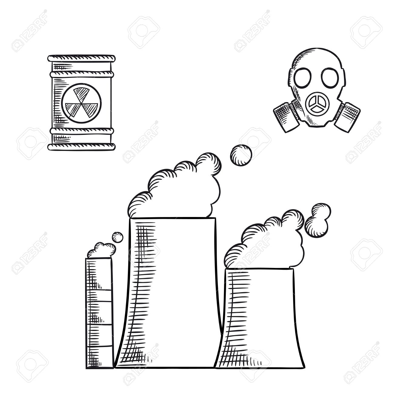 Destruction and environment pollution sketch icons with fuming