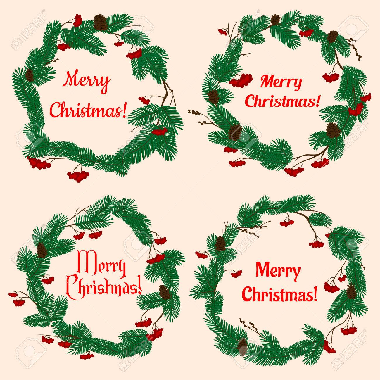 Christmas Wreaths With Winter Holiday Decorations With Lush Green ...