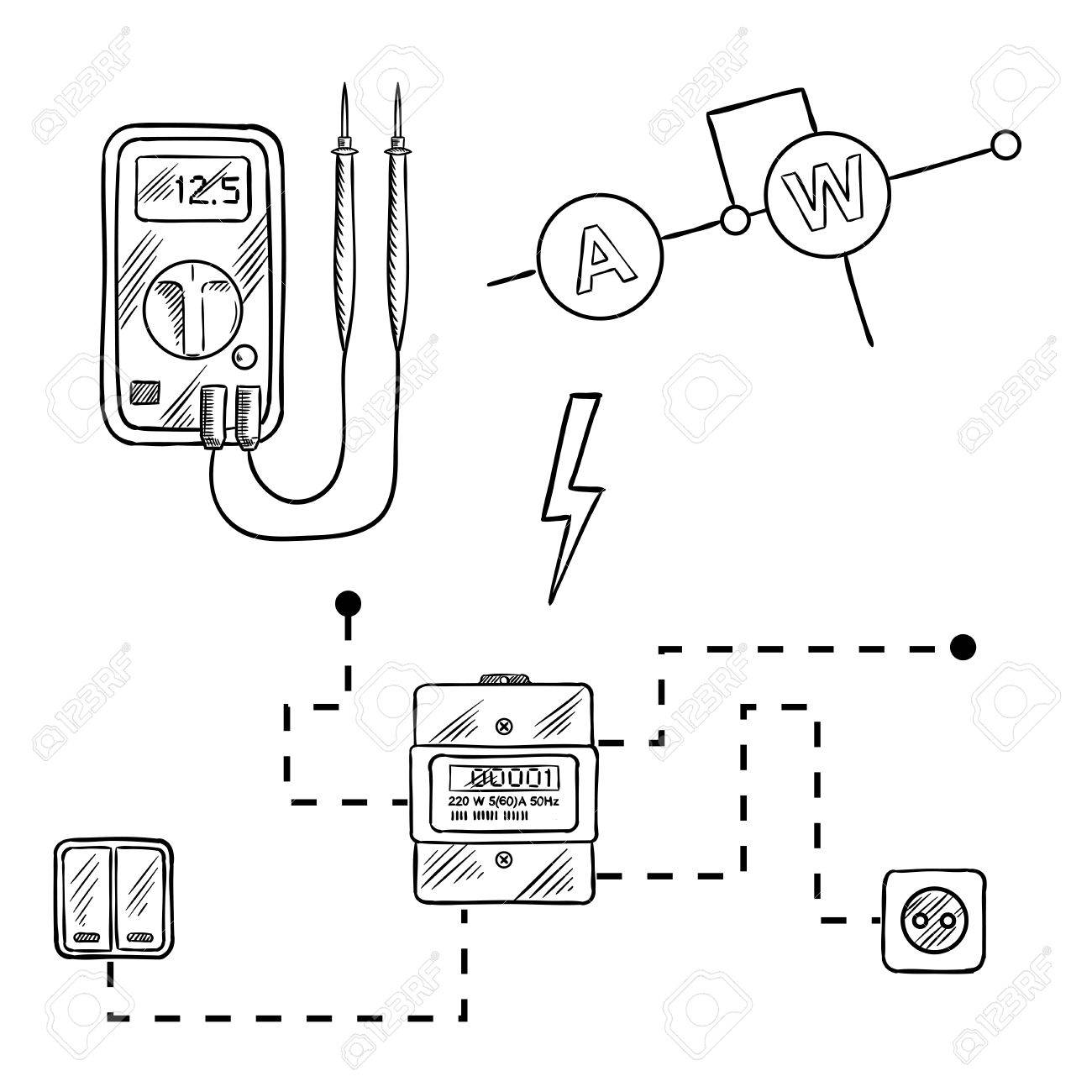 Digital Voltmeter Electricity Meter With Socket And Switches Switching Circuit Diagram Electrical Sketch Icons