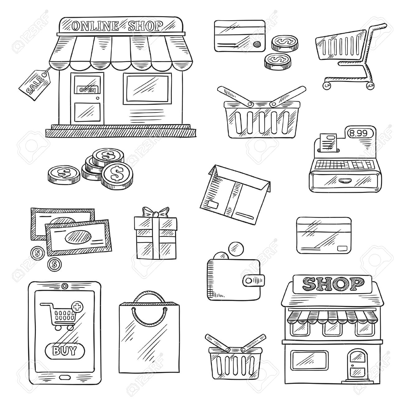Shopping and retail icons in sketch style of online shop sale tag tablet pc and buy button money credit card shopping cart basket and bag store