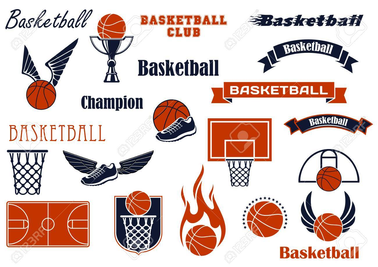 Basketball sport game and competition symbols for sport emblems basketball sport game and competition symbols for sport emblems or badges design with balls and shoes biocorpaavc Choice Image