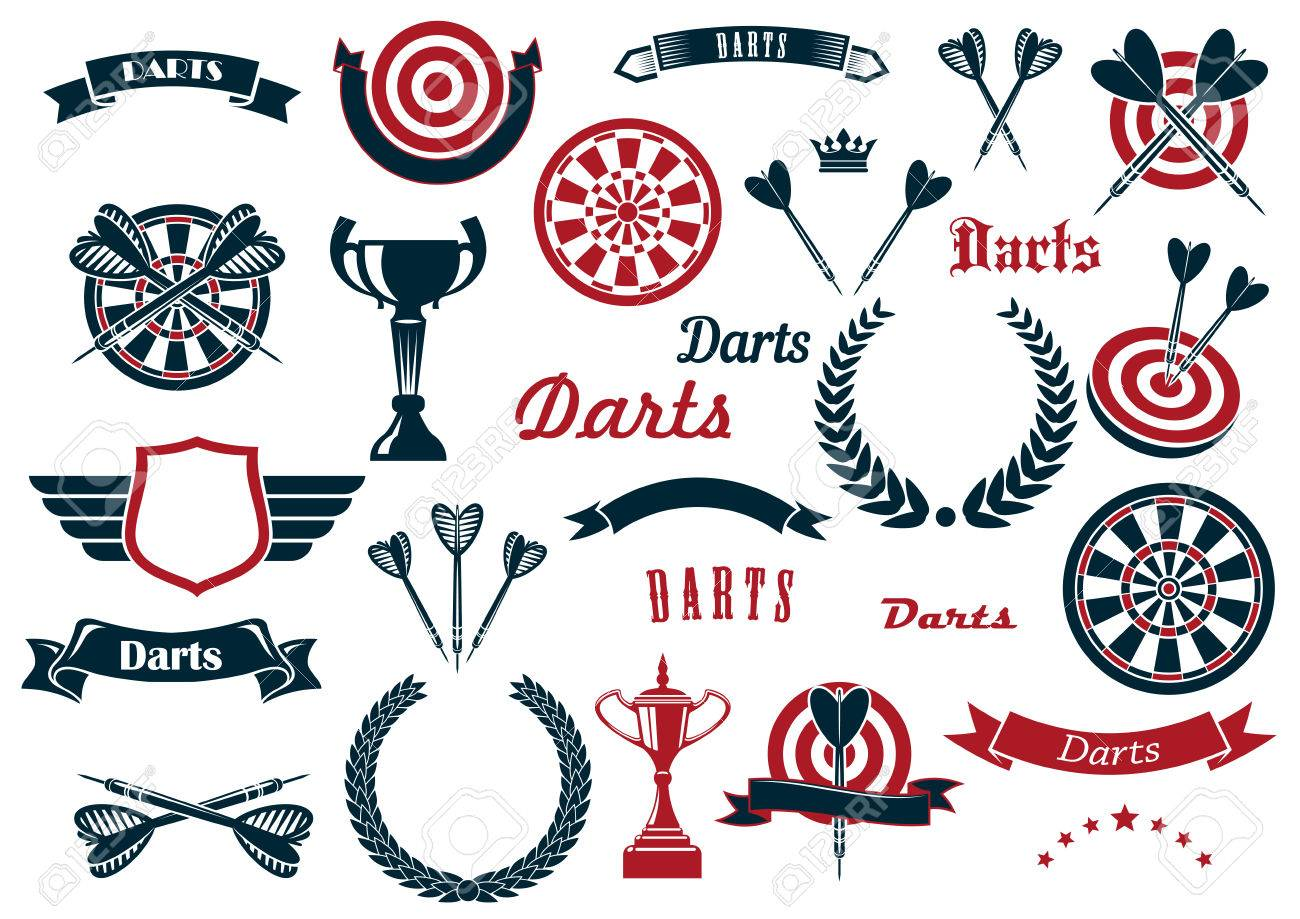 Darts sport game design elements and items with dartboard, arrow, trophy cup, heraldic laurel wreath, winged shield and ribbon banners, stars, crowns. - 49941364