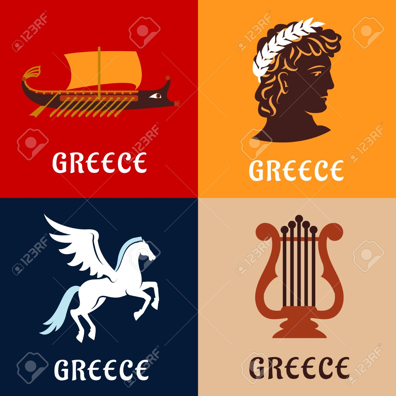 Culture history and mythology flat icons of ancient greece with culture history and mythology flat icons of ancient greece with winged pegasus greek athlete biocorpaavc Image collections
