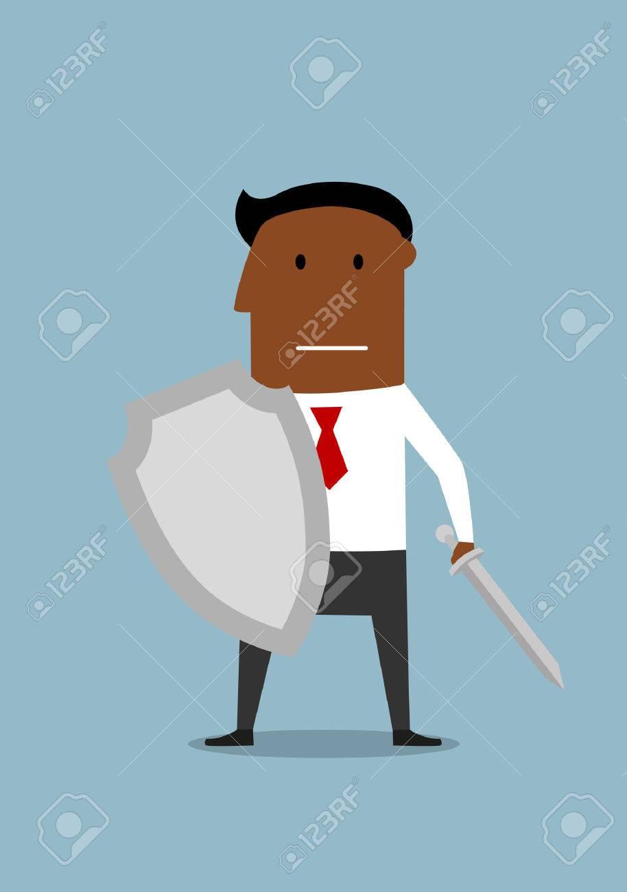 防衛の準備ができての剣と盾を持った戦士で勇敢なビジネスマン。の ...