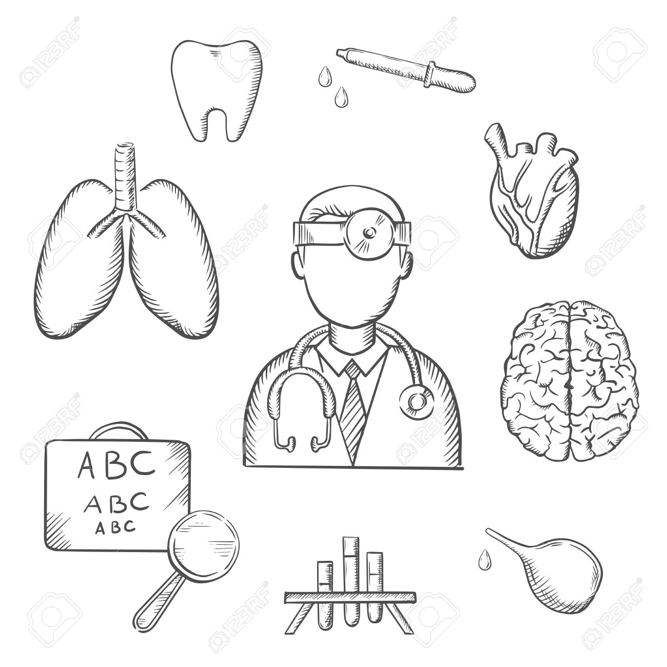 Medical sketch icons with doctor encircled by an eye chart lungs medical sketch icons with doctor encircled by an eye chart lungs tooth eye geenschuldenfo Choice Image