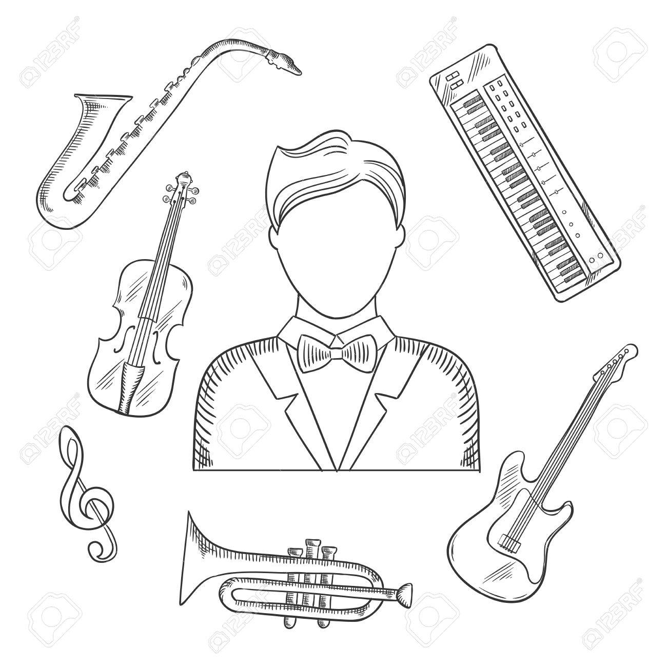 Musical Hand Drawn Icons Of Musician Man In Tailcoat Surrounded By Electric Guitar Trumpet