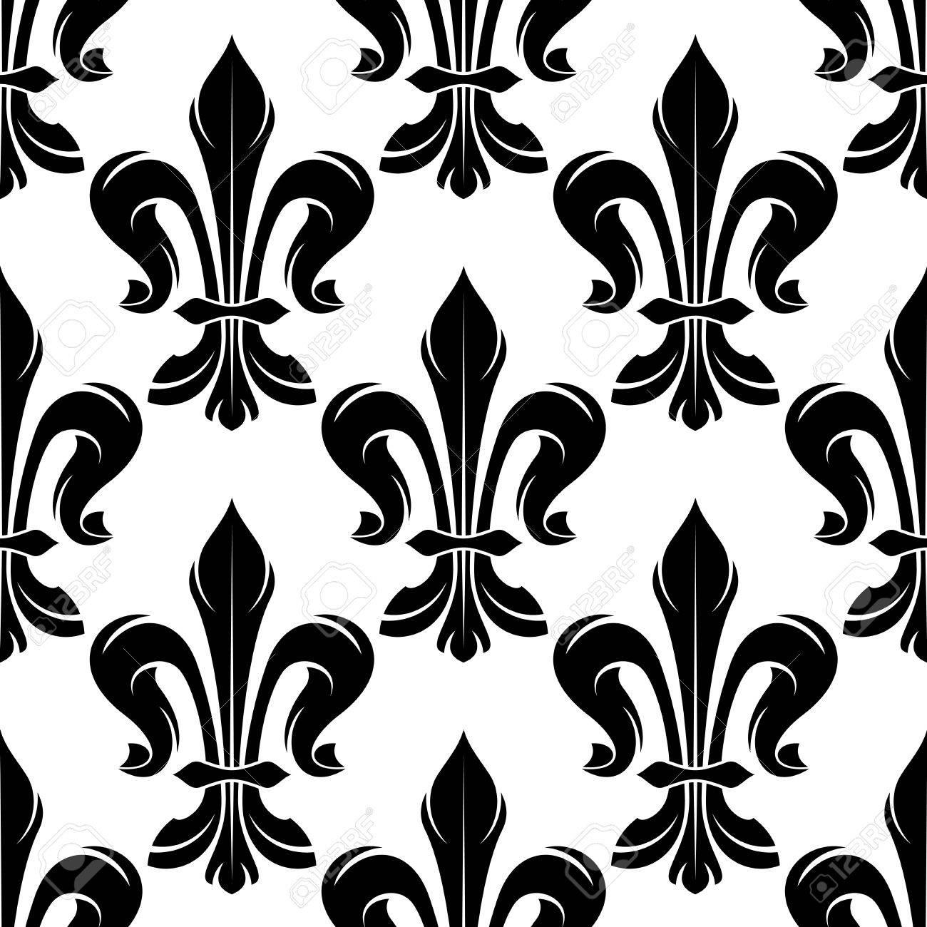 Modelo Blanco Y Negro Inconsutil De La Flor De Lis Con Hojas Rizadas Elegantes Dispuestas En Las Flores Del Lirio Frances Reales Grande Para El