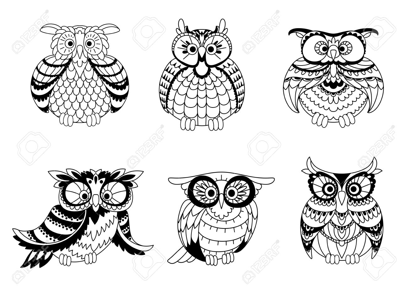 black and white outline silhouettes of cute little owls with different shapes plumage and eyes