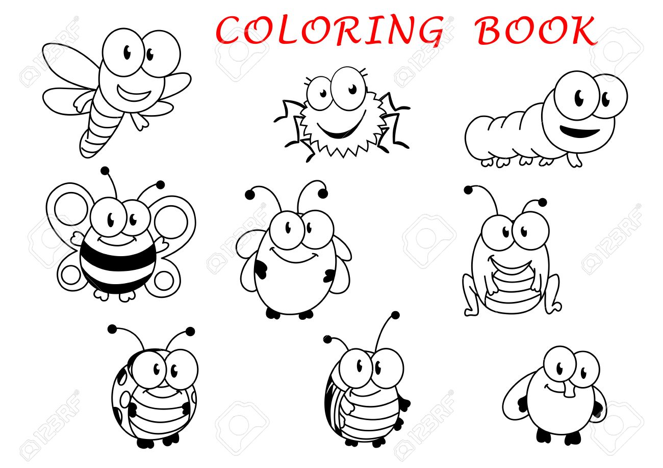 94ab8bc45b2 Cartoon funny outline insect characters with fly, ladybug, butterfly,..