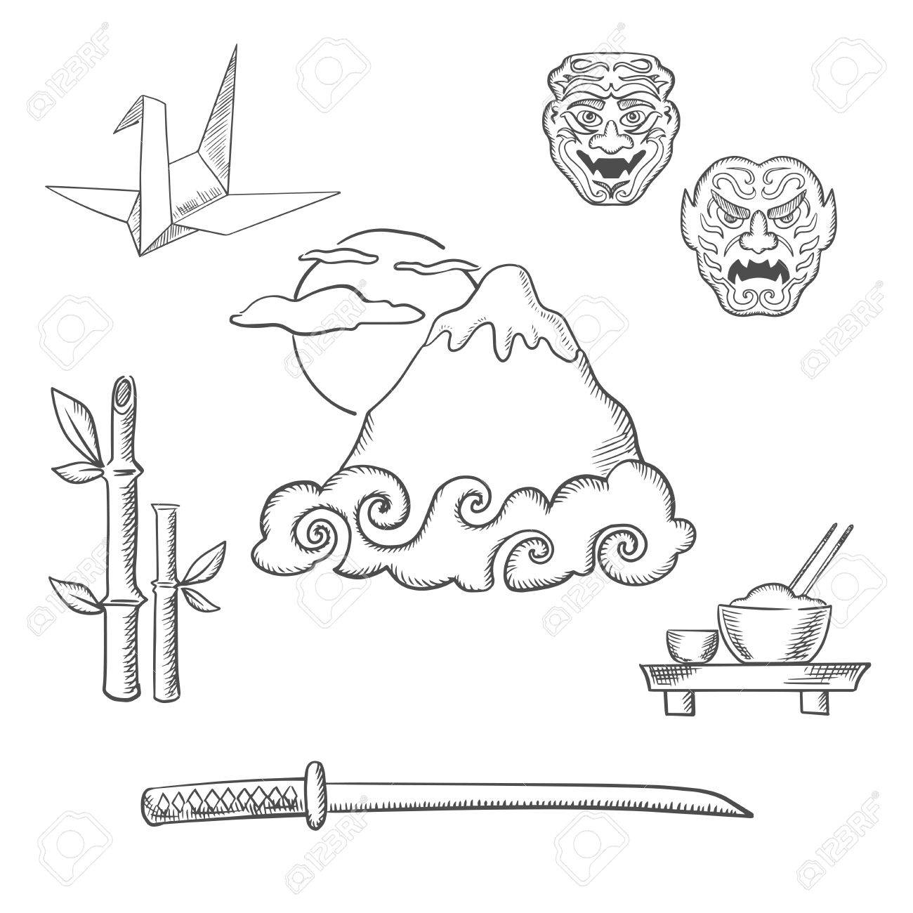 japan travel design in sketch style fujiyama mountain in clouds Food Web Levels japan travel design in sketch style fujiyama mountain in clouds and big sun surrounded by