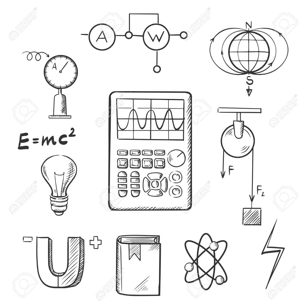 Science Sketch Icons Set With Symbols Of Physics Such As Magnet ...