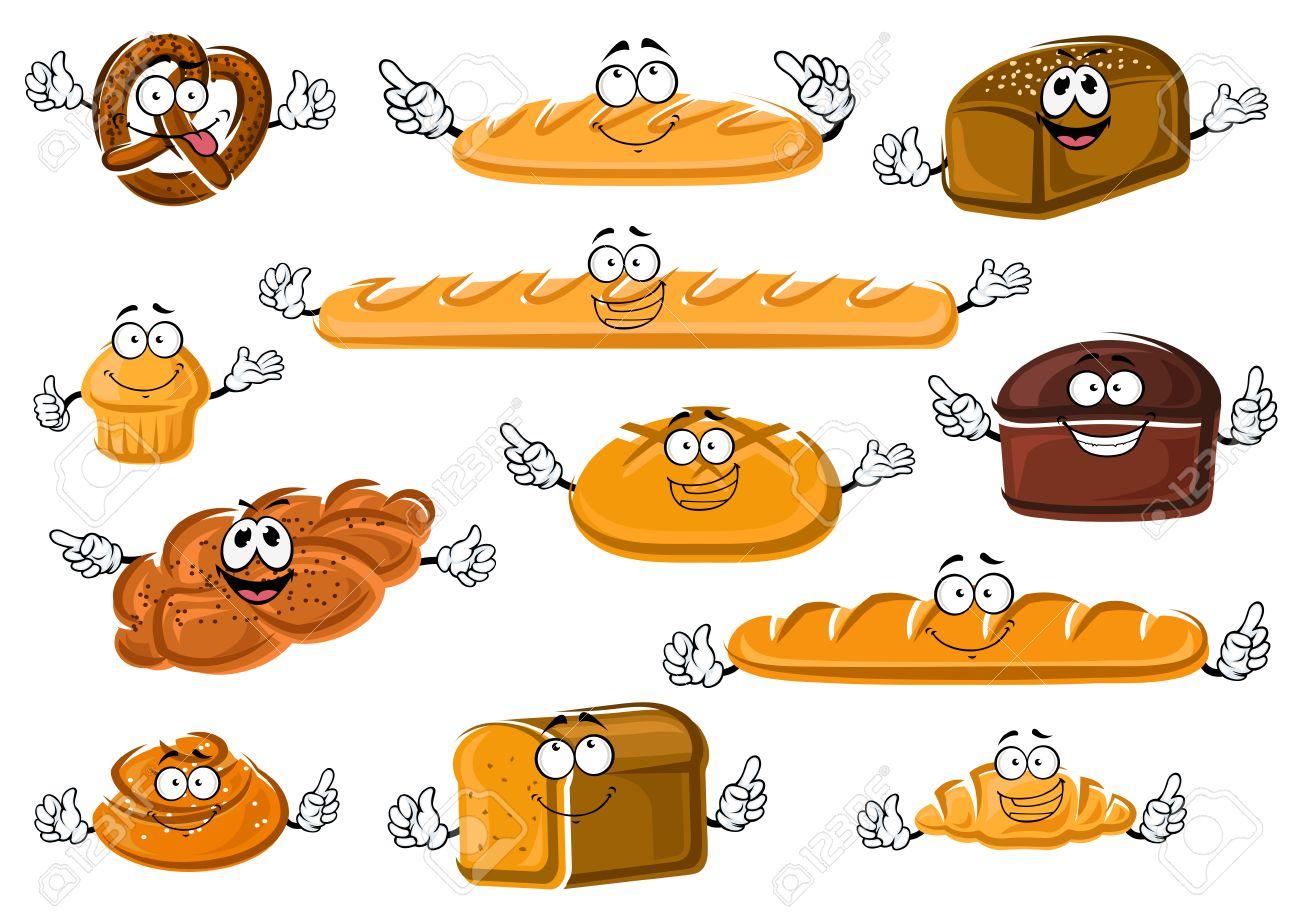 Dessin Animé Frais De Boulangerie Et De Pâtisserie Heureux Avec Baguette Française Et Des Croissants Pains Longs De Froment Le Seigle Et Le Pain De