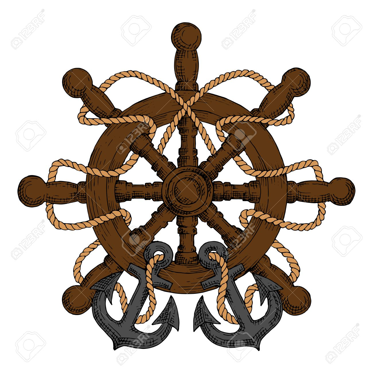 Old wooden ship helm with carved spokes and handles decorated old wooden ship helm with carved spokes and handles decorated by rope and admiralty anchors buycottarizona