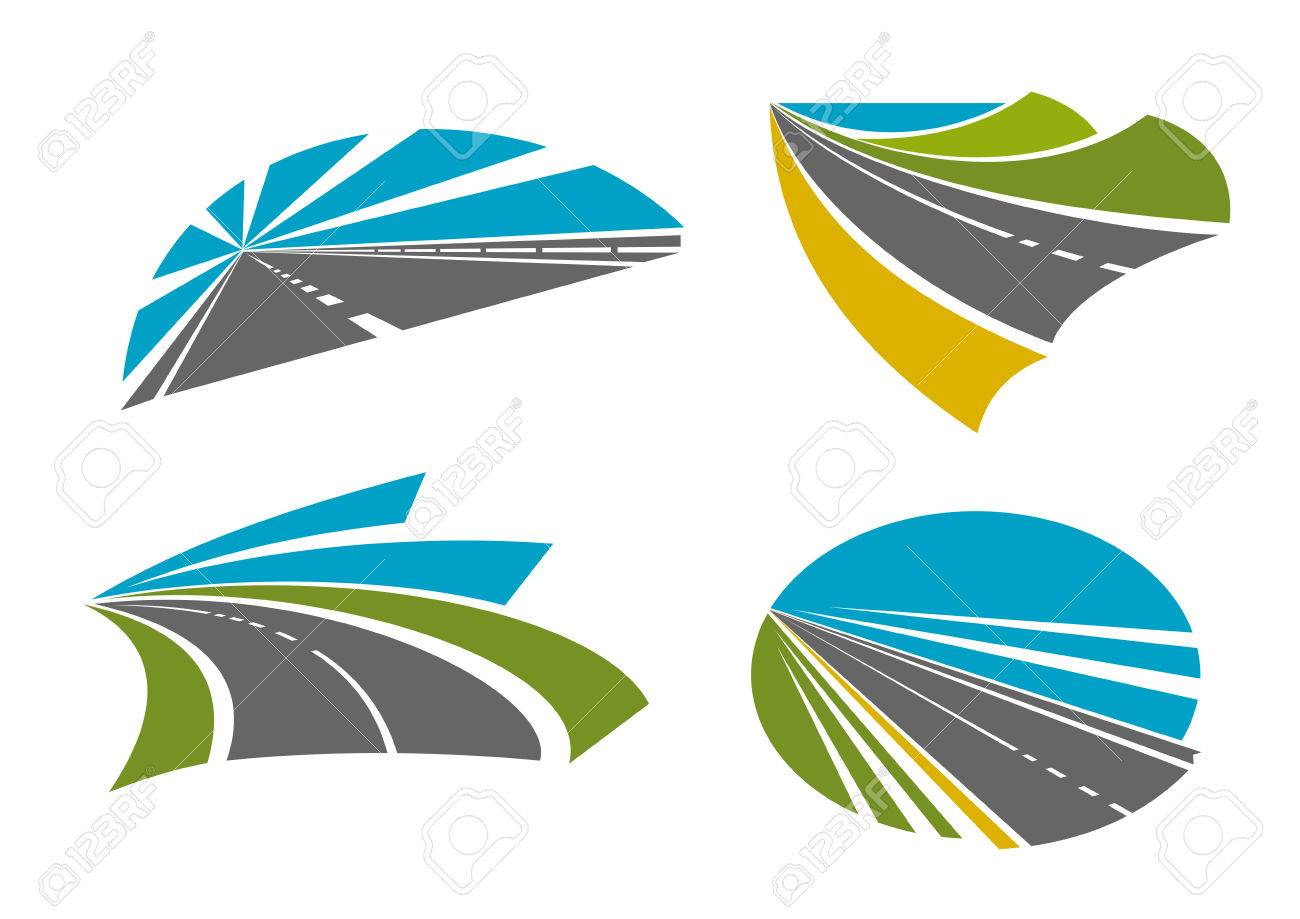 Colorful speedy highway roads and pathway symbols for traveling colorful speedy highway roads and pathway symbols for traveling or transportation design with asphalt road biocorpaavc