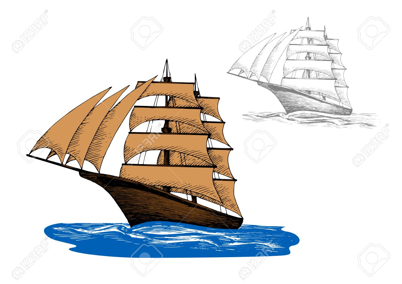Old Wooden Sailing Ship With Pale Brown Sails Among Blue Ocean
