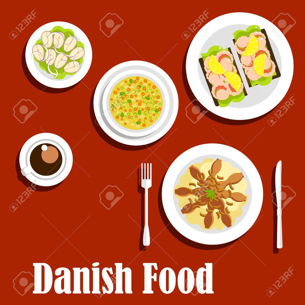 Iconos Planos Cocina Danesa Con Puré De Patatas Tradicionales ...