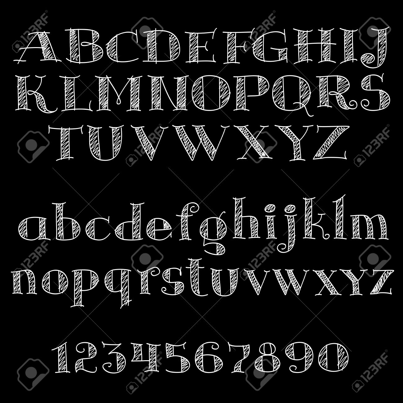 Chalk alphabet letters and numbers on blackboard with uppercase